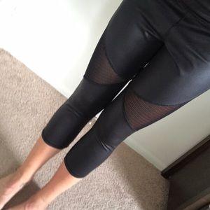 X Gottex Black Cropped Mesh Large Women's Leggings